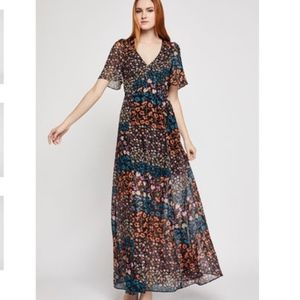 NWT BCBGeneration Metallic Flora Maxi Dress Size 0